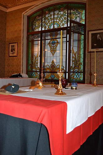 Martinism - Martinist altar, photo made in course of assembly of Lodges of the Sovereign Autonomous Ancient Martinist-Martinezist Order, Hotel Metropol, Moscow, Russia, April 2013