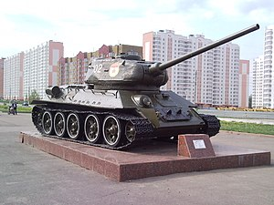 T-34-85 mod. 1944 tank as a war memorial in Kursk, Russia