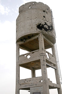 The damaged water tower in Be'erot Yitzhak, 15 February 2012