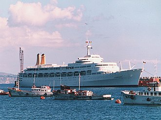 P&O Cruises - Canberra of 1961 in the Azores in 1984.
