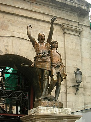 Lleida - Indíbil, king of the Ilergetes (left) and Mandonio, king of the Ausetanes (right)