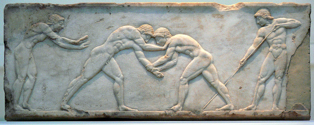 marble relief of two Greek men wrestling (c. 500 BC) - History of Combat Sports