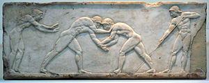 Greek wrestling - Funerary relief (510–500 BC) depicting wrestlers