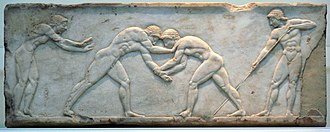 Greek wrestling - Funerary relief (510–500 BC) depicting wrestlers