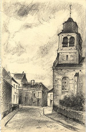 Neder-Over-Heembeek - The Church of St Nicholas in Upper Heembeek. (Drawing by the architect Leon Van Dievoet, 1939).