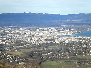 Salève - View on Geneva and the Jura mountains from the arrival of the cable car