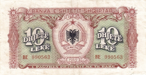 10 lekë of Albania in 1949 Obverse.png