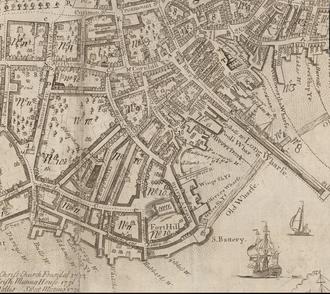 Federal Street (Boston) - Image: 1743 Financial District Boston map William Price
