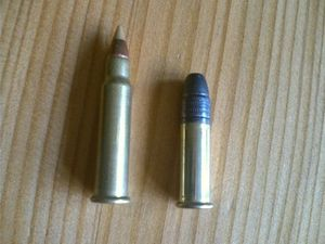 .17 HMR - A .17 HMR round with a ballistic tip (left) compared with a .22 Long Rifle round (right)