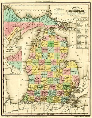 Alcona County, Michigan - Image: 1842 A new map of Michigan with its canals roads distances by H.S. Tanner