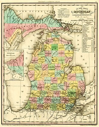 Clare County, Michigan - Image: 1842 A new map of Michigan with its canals roads distances by H.S. Tanner
