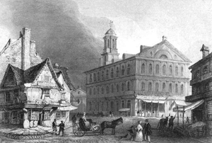 Dock Square (Boston) - Dock Square, Boston, c. 1840s; Old Feather Store (at left) and Faneuil Hall (in middle)