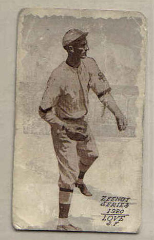 Slim Love - Slim Love, San Francisco Seals, Zeenuts Baseball Card (1920)