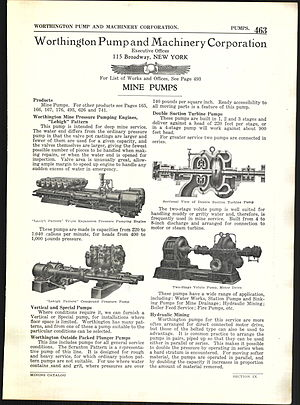 Worthington Corporation - 1922 advertisement for mine pumps from the Worthington Pump and Machinery Corporation