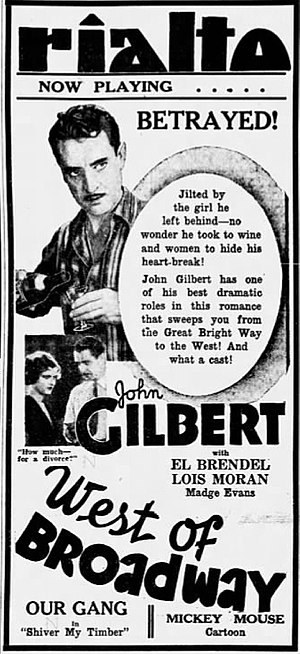 West of Broadway (1931 film) - Newspaper advertisement