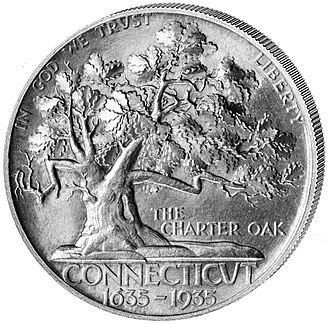 Charter Oak - 1935 Connecticut half dollar depicting the Charter Oak