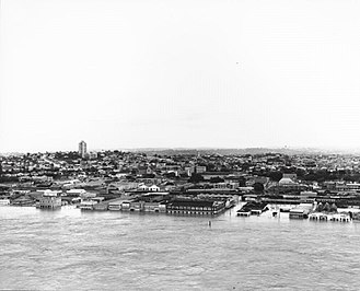 Queensland Cultural Centre - 1974 flood of the Brisbane River in the South Brisbane area