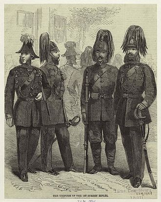 1st Surrey Rifles - Personnel of the 1st Surrey Rifles in uniform, from an 1861 drawing.