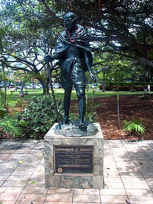 Statue of Mohandas K. Gandhi in Waikiki, Honol...