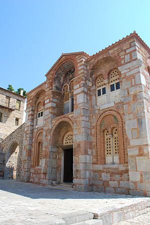 Byzantine architecture - External view of the 11th-century monastery of Hosios Loukas in Greece. It is representative of the Byzantine art during the rule of the Macedonian dynasty (Macedonian art)
