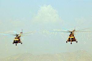 Afghan Air Force - Mi-17 helicopters of the AAF during the 2010 air show in Kabul.