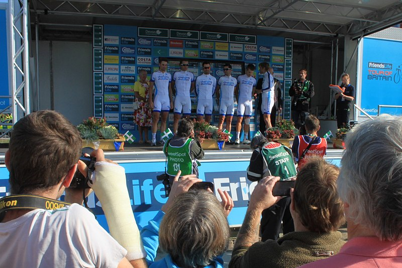 File:2014 Tour of Britain stage 5 team Novo Nordisk signing on at Exmouth.JPG