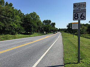 Maryland Route 86 - View north at the south end of MD 86 at MD 30 in Manchester