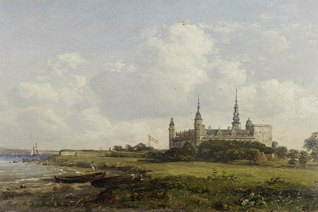 Chateau de Kronborg sur une toile de l'impressionniste danois Constantin Hansen.