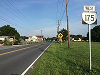 2017-07-12 07 39 07 View west along Virginia State Route 175 (Chincoteague Road) at Wallops Millpond Road in Wattsville, Accomack County, Virginia.jpg