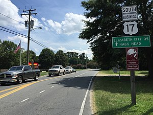 Special routes of U.S. Route 17 - View south along US 17 Bus in Chesapeake