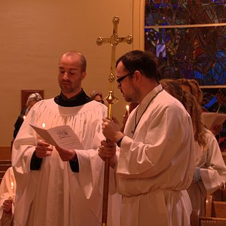 Candlemas - Blessing of candles on Candlemas at an Episcopal Church in the United States