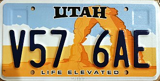 Vehicle registration plates of Utah - Current Utah arch license plate