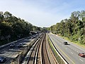 2018-10-25 12 06 00 View west along Interstate 66 (Custis Memorial Parkway) and the Orange and Silver lines of the Washington Metro from the overpass for North Harrison Street in Arlington County, Virginia.jpg