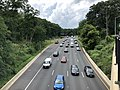 2019-07-11 13 55 41 View west along the eastbound lanes of Interstate 495 (Capital Beltway) from the overpass for Maryland State Route 355 (Rockville Pike) on the edge of Bethesda and North Bethesda in Montgomery County, Maryland.jpg