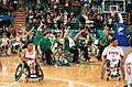 221000 - Wheelchair basketball Australian team celebrates - 3b - 2000 Sydney match photo.jpg
