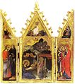 24 Triptych Nativity,Resurrection and Saints. 1397 (53x53) Pinacoteca, Siena.jpg