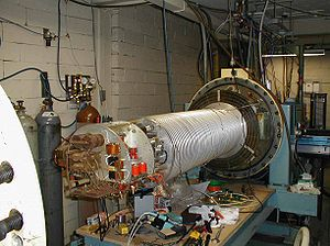 Particle accelerator - A 1960s single stage 2 MeV linear Van de Graaff accelerator, here opened for maintenance