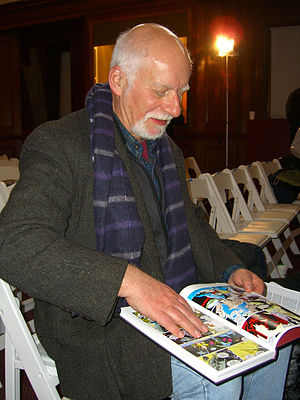 Uncanny X-Men - Writer Chris Claremont looks through a copy of a hardcover X-Men volume that collects many of the issues he wrote, March 2012.