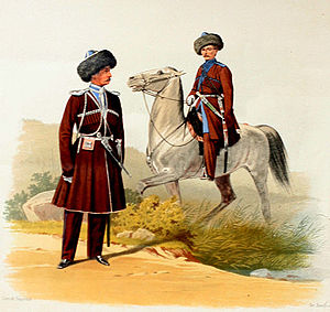 North Caucasus Line - A Terek Cossack about 1860. His uniform copies native dress: papakha, cherkeska with gazerei and kinzhal