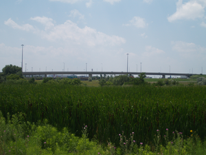 Ontario Highway 409 - The flyover from Highway 427 to Highway 409 was constructed in 1992, replacing an at-grade signalized intersection.