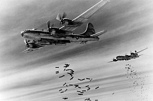 XX Bomber Command - 468th Bombardment Group Boeing B-29s attacking Rangoon Burma, 22 March 1945