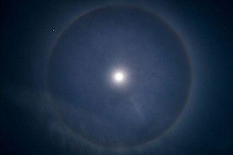 22° halo - A 22° halo around the Moon