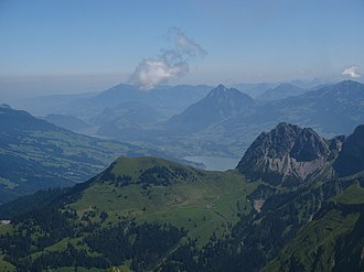 Sarnen - View from Brienzer Rothorn with Sarnen and Lake Sarnen in the background
