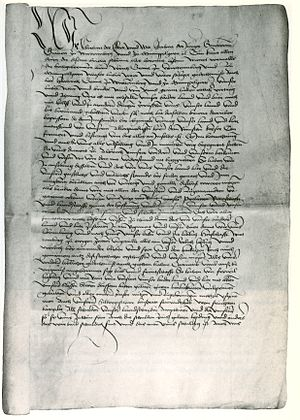 Treaty of Münsingen - First page of the Treaty of Münsingen