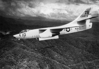 Douglas A-3 Skywarrior - A VAH-4 A-3B from USS ''Oriskany'' dropping a Mk 83 bomb, 1965.