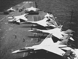 North American A-5 Vigilante - A3J-1s (A-5A post 1962) of VAH-7 on USS Enterprise in 1962.