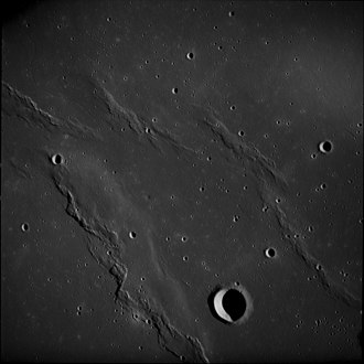 Wrinkle ridge - Unnamed wrinkle ridges north of the lunar crater Flamsteed, Oceanus Procellarum, from Apollo 12
