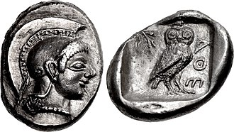"Ancient Greek coinage - Archaic coin of Athens with effigy of Athena on the obverse, and olive sprig, owl and ΑΘΕ, initials of ""Athens"" on the reverse. Circa 510-500/490 BC"
