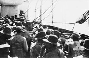 21st Battalion (Australia) - Troops from the 21st Battalion prepare to abandon the Southland after it was torpedoed by a German submarine, September 1915