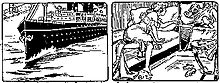 Two panels from a comic strip. In the first panel, a nurse watches as a young boy urinates, and an ocean liner tavels through the mass of urine. In the second panel, the nurse awakens in her bed to the child's crying.
